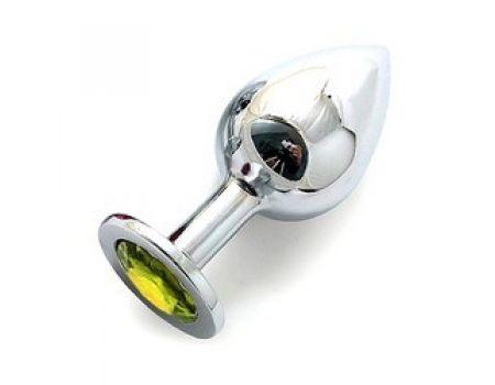 Silver plug large кристалла желтый SL-06
