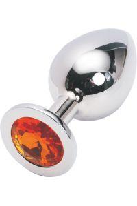 Silver plug large кристалла оранжеый SL-08