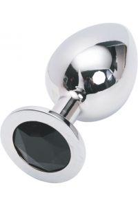 Silver plug large кристалла черный SL-11