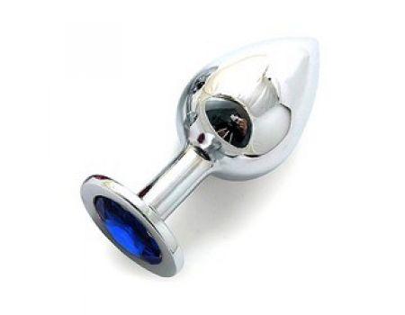 Silver plug large кристалла синий SL-13