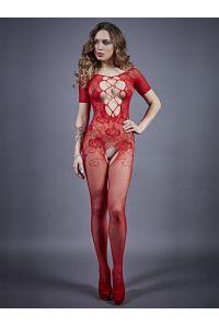 Боди-комбинезон красный c рукавом и вырезом на груди 04918